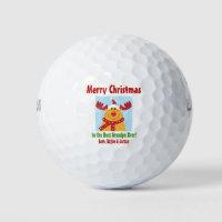 Christmas Best Grandpa Ever Name Reindeer Golf Balls