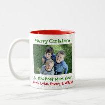 Christmas Best Mom Ever Custom Kids Photo Simple Two-Tone Coffee Mug