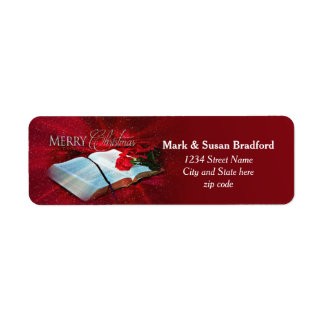 Christmas Bible Christian Return Labels (Red/Snow)