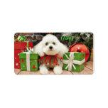 Christmas - Bichon Frise - Abby Personalized Address Label