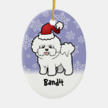 Christmas Bichon Frise (add your pets name) Double-Sided Oval Ceramic Christmas Ornament