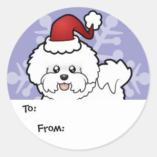 Christmas Bichon Frise Classic Round Sticker