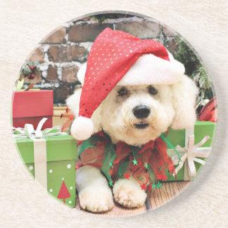 Christmas - Bichon Frise - Daisy Beverage Coasters