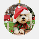 Christmas - Bichon Frise - Daisy Double-Sided Ceramic Round Christmas Ornament