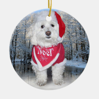 Christmas Bichon Frise Dog Ceramic Ornament
