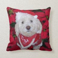 Christmas Bichon Frise Dog Throw Pillows