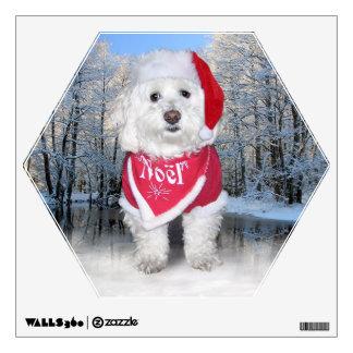 Christmas Bichon Frise Dog Wall Sticker