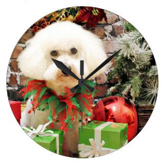 Christmas - Bichon Frise - Harley Large Clock