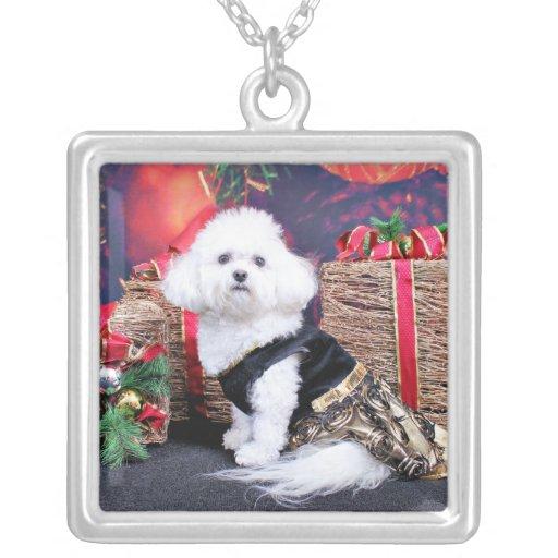 Christmas - Bichon Frise - Mia Square Pendant Necklace