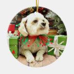 Christmas - Bichon Frise - Woody Christmas Tree Ornaments