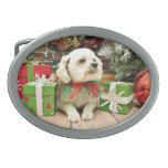 Christmas - Bichon Frise - Woody Oval Belt Buckles