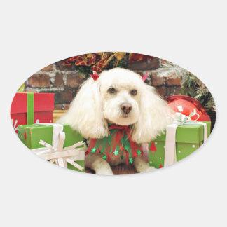 Christmas - Bichon Frise X - Katie Oval Stickers