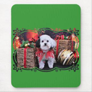 Christmas - Bichon Frise X - Panda Mouse Pads