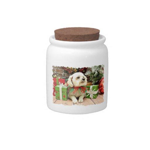 Christmas - BichonFrise - Woody Candy Jars
