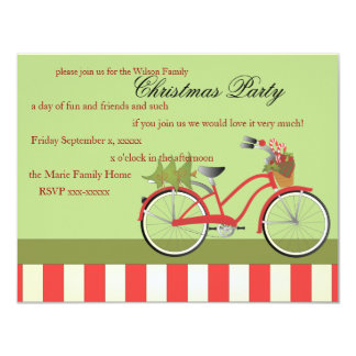 "Christmas Bicycle 4.25"" X 5.5"" Invitation Card"