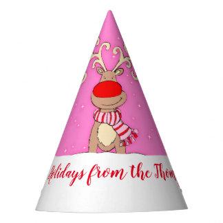Christmas big antlers reindeer pink name hat