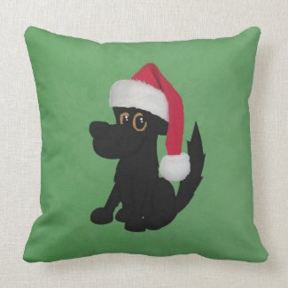 Christmas Big Dog Green Square Throw Pillow