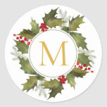 """Christmas Big Monogram Vintage Holly Wreath Classic Round Sticker<br><div class=""""desc"""">Hand-painted watercolor holly leaves and bright red berries with pine branches,  winter foliage and big monogram initial on white background. Background color can be changed under """"Customize"""" further.</div>"""