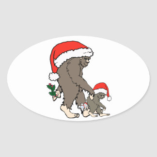 Christmas Bigfoot Family Oval Sticker