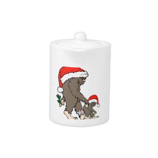 Christmas Bigfoot Family Teapot