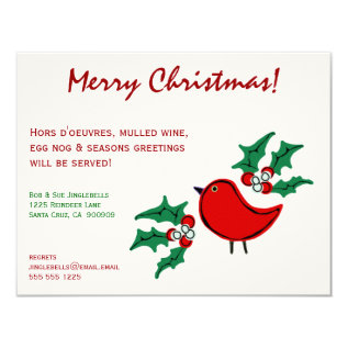 Christmas Bird And Holly 4.25 X 5.5 Card at Zazzle