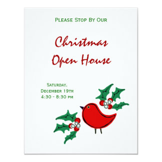 Christmas Bird and Holly 4.25x5.5 Paper Invitation Card