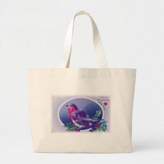 christmas bird blue large tote bag