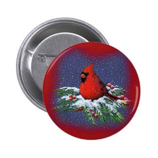 CHRISTMAS BIRD: CARDINAL: ART 2 INCH ROUND BUTTON