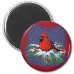 CHRISTMAS BIRD: CARDINAL: ART 2 INCH ROUND MAGNET