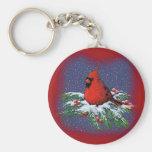 CHRISTMAS BIRD: CARDINAL: ART BASIC ROUND BUTTON KEYCHAIN