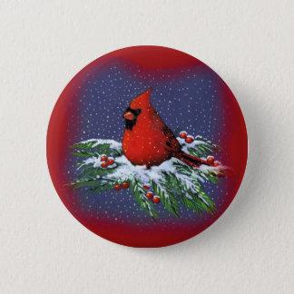 CHRISTMAS BIRD: CARDINAL: ART BUTTON