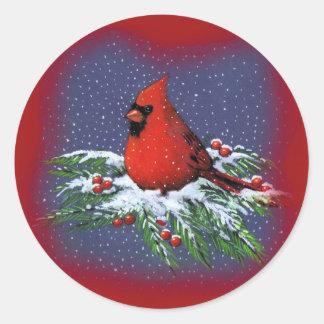 CHRISTMAS BIRD: CARDINAL: ART CLASSIC ROUND STICKER