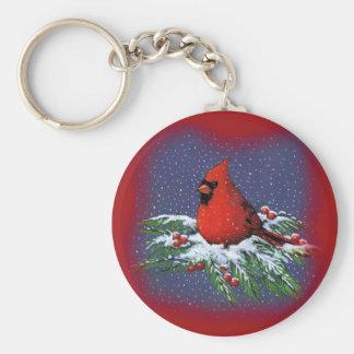 CHRISTMAS BIRD: CARDINAL: ART KEYCHAIN