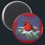"""CHRISTMAS BIRD: CARDINAL: ART MAGNET<br><div class=""""desc"""">(multiple products selected) A chubby red Cardinal sits on top of snowy pine branches.  Red berries are scattered here and there.   Snowflakes fall gently.  This drawing has been made with Color Pencils on Colorfix Paper.</div>"""