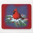 CHRISTMAS BIRD: CARDINAL: ART MOUSE PAD