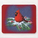 CHRISTMAS BIRD: CARDINAL: ART MOUSE PADS