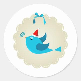 Christmas bird classic round sticker
