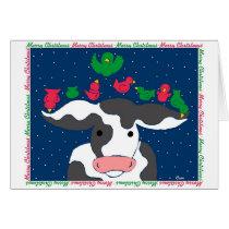 Christmas Bird Cow Card