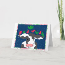 Christmas Bird Cow Holiday Card