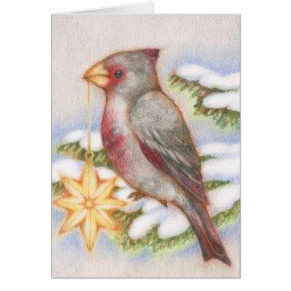 Christmas Bird Desert Cardinal Star Ornament Card