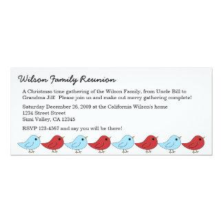 Christmas Bird Family 4x9.25 Paper Invitation Card