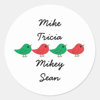 Christmas Bird Family Classic Round Sticker