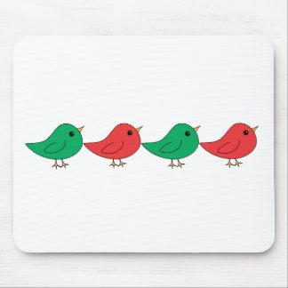 Christmas Bird Family Mouse Pad