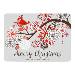 Christmas Bird Floral Holiday Flat Card