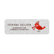 Christmas Bird Floral Holiday Return Address Label