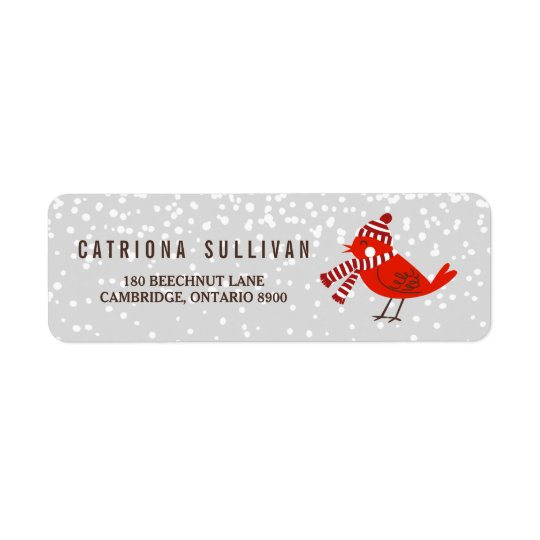 christmas bird floral holiday return address label zazzle com
