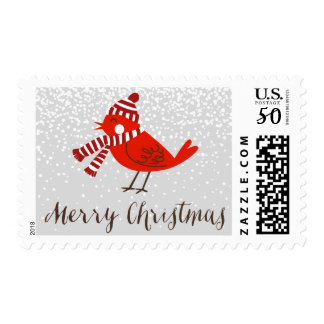 Christmas Bird Floral Holiday Stamp