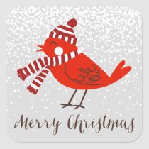 Christmas Bird Floral Holiday Sticker