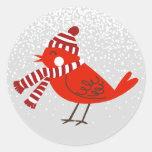 Christmas Bird Floral Holiday Striker Classic Round Sticker