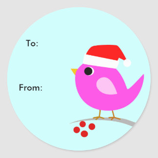 Christmas Bird Gift Tag Classic Round Sticker
